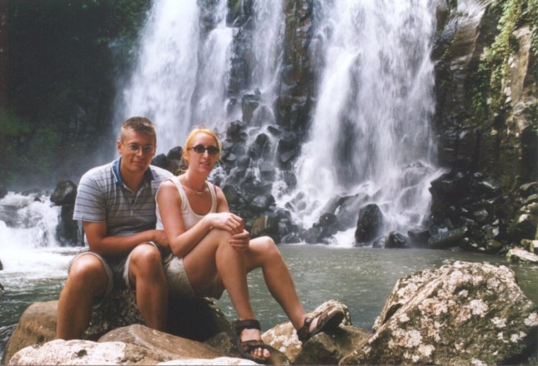 Lisbet and Allan by a waterfall